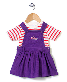 Cucumber Dungaree Style Frock With Stripe Top - Dark Violet White