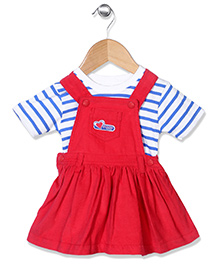 Cucumber Dungaree Style Frock With Stripe Top - Red White