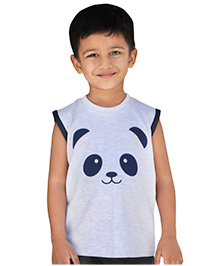Snowflakes Sleeveless T-Shirt Panda Print - Off White