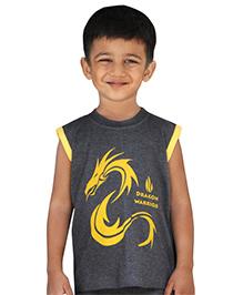 Snowflakes Sleeveless T-Shirt Dragon Print - Grey