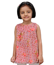 Snowflakes Sleeveless Tunic Top Floral Print - Pink