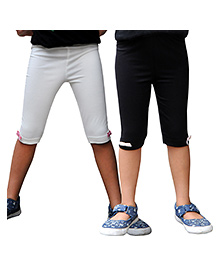 Snowflakes Lycra Three Fourth Cycling Shorts Pack of 2 - Black and White