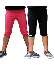 Snowflakes Lycra Three Fourth Leggings Pack of 2 - Black and Pink