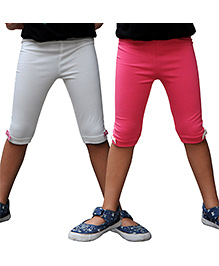 Snowflakes Lycra Three Fourth Leggings Pack of 2 - White and Pink