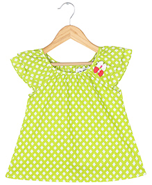 Soul Fairy Goemetric Print Peasant Top With Bow Applique - Light Green