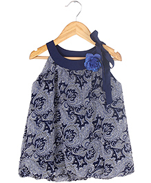 Soul Fairy Paisely With Boat Neck Top With Tie-Up - Navy