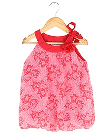 Soul Fairy Paisely With Boat Neck Top With Tie-Up - Pink