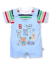 ToffyHouse Half Sleeves Romper and T-Shirt Set Teddy Print - Blue