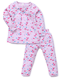 ToffyHouse Full Sleeves Butterfly Print Top And Pajama Set - Pink