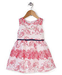 Adores Flower Print Dress With Attached Necklace & Belt  -  Pink
