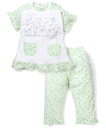 Cucumber Half Sleeves Night Suit Heart Print - White Green