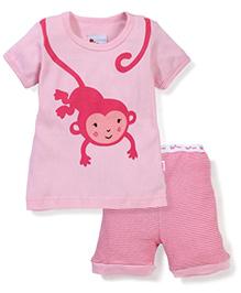 Adores Monkey Print Night Suit - Pink
