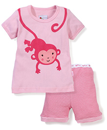 Adores Monkey Print Night Suit - Pink