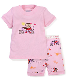 Adores Cute Print Night Suit - Pink