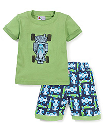 Adores Sport Car Print Night Suit - Green