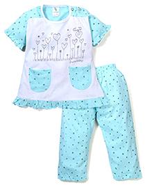 Cucumber Half Sleeves Night Suit Heart Print - White & Aqua