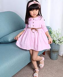 The KidShop Elegant Dress With A Cute Belt & Peter Pan Neck - Pink