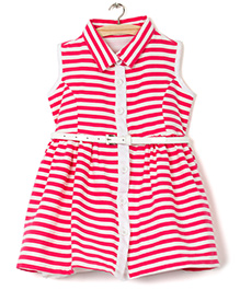 The KidShop Sleeveless Striped Dress - Fuschia Pink