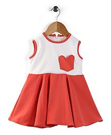 The KidShop Dress With A Cute Heart Pocket - Off White & Orange