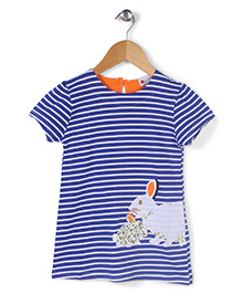 Adores Half Sleeves Striped Top Rabbit Embroidery - Blue