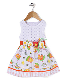 Adores Flower Print Dress With Attached Belt - Multicolour