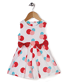 Adores Big Dot Print Dress With Bow - Red & White