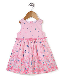 Adores Butterfly Print Dress With Attached Belt - Pink