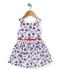 Adores Sleeveless Dress With Belt Ship Print - White