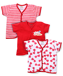 Babyhug Short Sleeves Vests Pack of 3 - Red  White