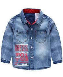 Pre Order : Lil Mantra Denim Full Sleeves Shirt - Blue