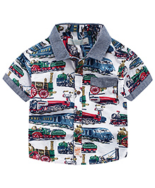 Pre Order : Lil Mantra Train Print Short Sleeves Shirt - Multicolour