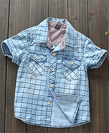 Pre Order : Lil Mantra Printed Checks Short Sleeves Shirt - Blue