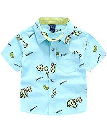 Pre Order : Lil Mantra Monkey Print Short Sleeves Shirt - Light Blue
