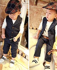 Pre Order : Lil Mantra Printed Checks Waist Coat And Pant Set - Navy