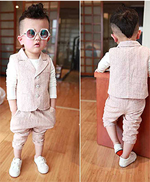 Pre Order : Lil Mantra Waist Coat And Pant Set - Beige