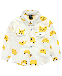 Pre Order : Lil Mantra Cat Print Full Sleeves Shirt - White