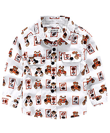 Pre Order : Lil Mantra Teddy Print Full Sleeves Shirt - White