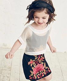 Pre Order : Lil Mantra Sheer Top & Floral Dress Set - White & Navy