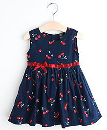 Pre Order : Lil Mantra Cherry Print Dress With Bow - Navy
