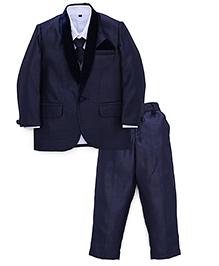 Robo Fry 4 Pieces Party Wear Suit Set With Tie - Dark Blue