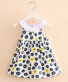 Pre Order : Mauve Collection Floral Print Summer Dress - Navy Blue