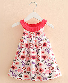 Pre Order : Mauve Collection Flower Print Frill Dress - Pink
