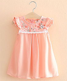 Pre Order : Mauve Collection Cute Embroidery Dress - Peach