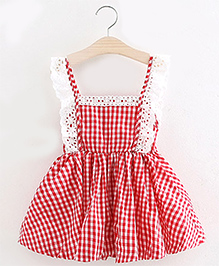 Pre Order : Mauve Collection Checkered Dress With Lace - Red