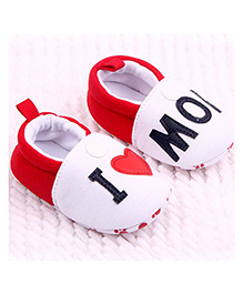 Wow Kiddos I Love Mom Round Toe Shoes - Red & White