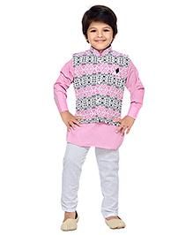 AJ Dezines Kurta Churidar Pajama And Printed Waistcoat Set - Pink