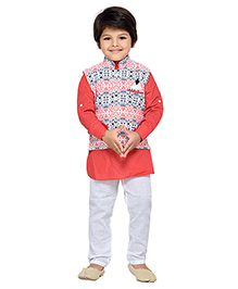 AJ Dezines Kurta Churidar Pajama And Printed Waistcoat Set - Orange