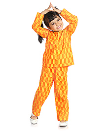 Little Pockets Store Kids Night Suit - Yellow & Orange