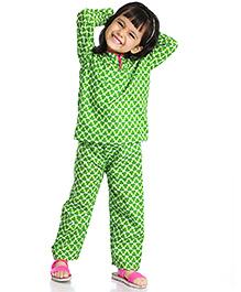 Little Pockets Store Kids Night Suit - Mint Green