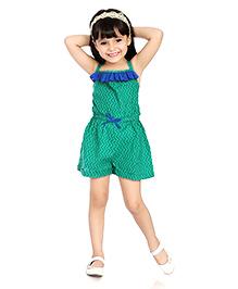 Little Pockets Store Funky Frill Romper - Green